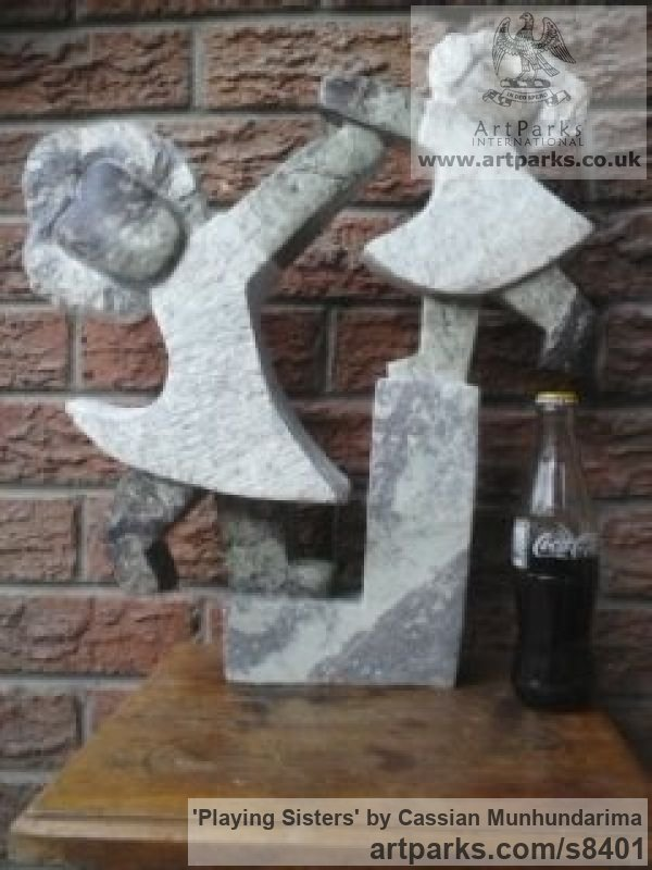 Stone Garden Or Yard / Outside and Outdoor sculpture by sculptor Cassian Munhundarima titled: 'Playing Sisters (Stylised Children stone statue)' - Artwork View 5