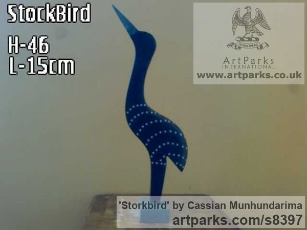 Stone African Art Sculpture Statuary sculpture by sculptor Cassian Munhundarima titled: 'Storkbird (Carved Stylised Wader statuettes)'