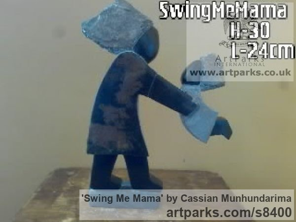 Stone Garden Or Yard / Outside and Outdoor sculpture by sculptor Cassian Munhundarima titled: 'Swing Me Mama (Carved Mother and Child statue)' - Artwork View 2