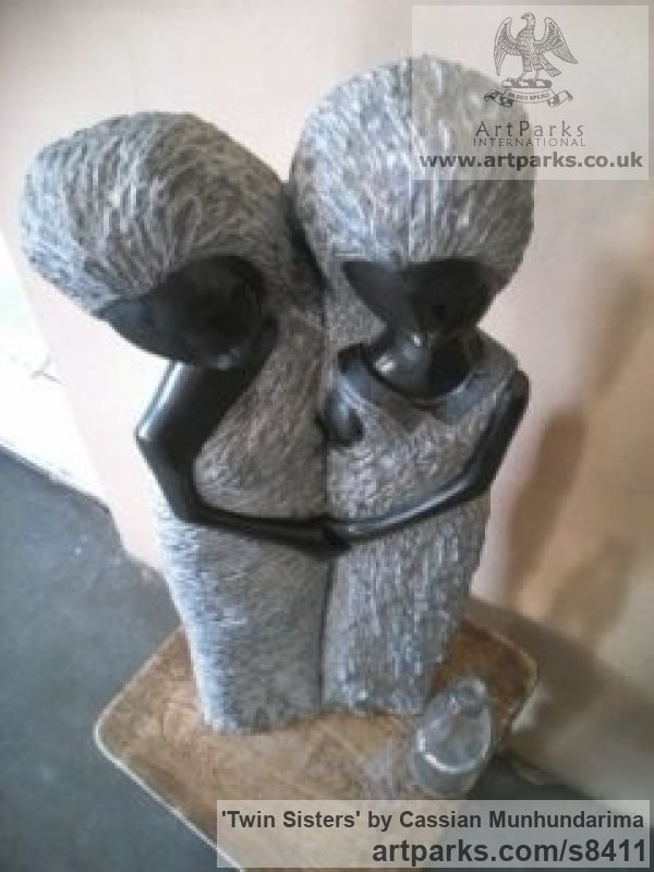 Spring-stone Garden Or Yard / Outside and Outdoor sculpture by sculptor Cassian Munhundarima titled: 'Twin Sisters (Small Carved stone garden sculpture)' - Artwork View 5