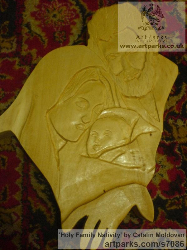 Wood Wall Panel Carved Engraved Cast Moulded sculpture plaque sculpture by sculptor Catalin Moldovan titled: 'Holy Family Nativity (Carved Wood Low Relief Wall Hanging Decoration)'