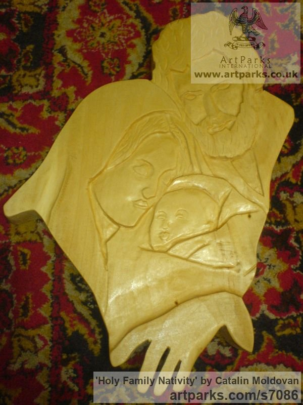 Wood Wall Panel Carved Engraved Cast Moulded sculpture plaque sculpture by sculptor Catalin Moldovan titled: 'Holy Family Nativity (Carved Wood Low Relief Wall Hanging Decoration)' - Artwork View 2