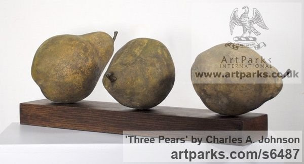 Reconstituted limestone, sandstone Outsize Big Large Fruit Flower Plant sculpture statuaryGarden Ornament sculpture by sculptor Charles A. Johnson titled: 'Three Pears (Large Lifelike garden Fruit statue)' - Artwork View 4