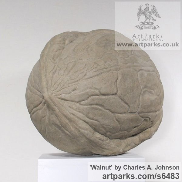 Reconstituted limestone Garden Or Yard / Outside and Outdoor sculpture by sculptor Charles A. Johnson titled: 'Walnut (Outsize Nut Outdoors Yard Indoor statue)'