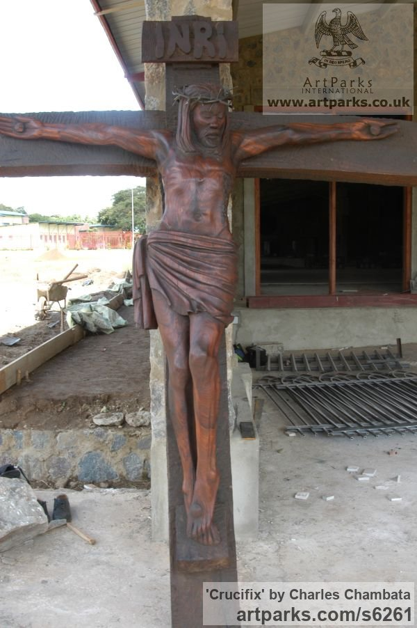 Mubanga wood(found in Zambia) Crucifiction Christian Cross Alter Piece sculpture carvings sculpturettes sculpture depicting the crucfiction sculpture by sculptor Charles Chambata titled: 'Crucifix (The mission of Jesus Carved Wood Crucifiction statue/carving)' - Artwork View 3