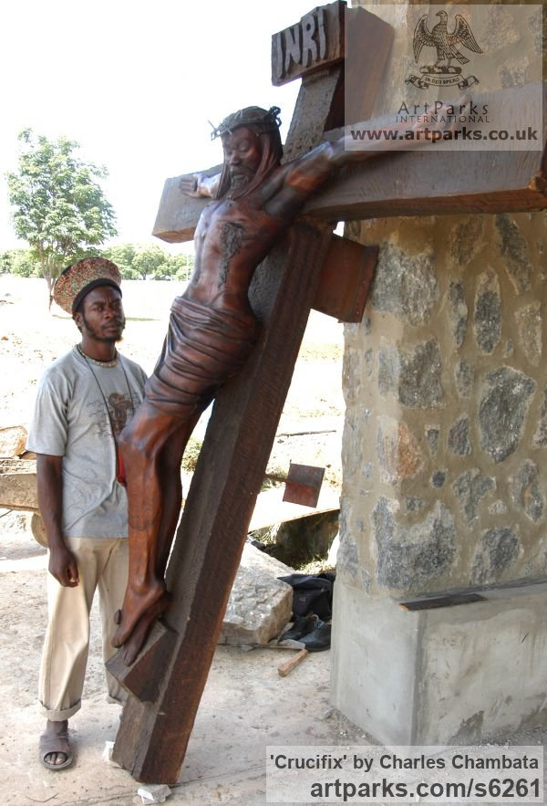 Mubanga wood(found in Zambia) Crucifiction Christian Cross Alter Piece sculpture carvings sculpturettes sculpture depicting the crucfiction sculpture by sculptor Charles Chambata titled: 'Crucifix (The mission of Jesus Carved Wood Crucifiction statue/carving)' - Artwork View 4