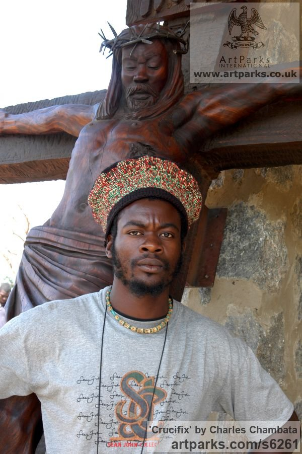 Mubanga wood(found in Zambia) Crucifiction Christian Cross Alter Piece sculpture carvings sculpturettes sculpture depicting the crucfiction sculpture by sculptor Charles Chambata titled: 'Crucifix (The mission of Jesus Carved Wood Crucifiction statue/carving)' - Artwork View 5