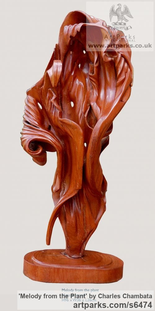 Mupapa wood Foliage Leaves Carvings sculpture sculpture by sculptor Charles Chambata titled: 'Melody from the Plant (abstract Wood statuettes)' - Artwork View 1