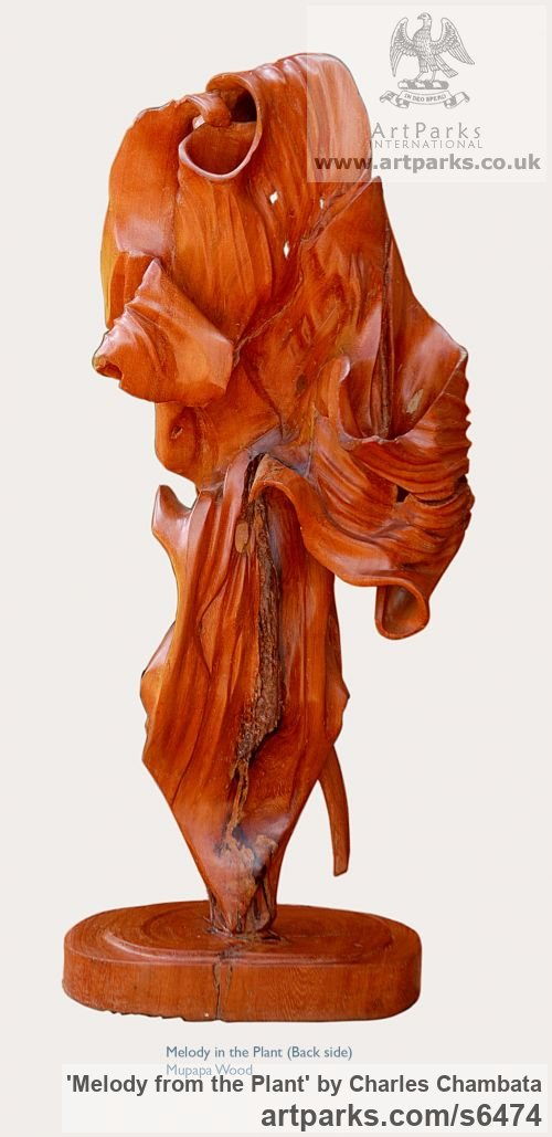 Mupapa wood Foliage Leaves Carvings sculpture sculpture by sculptor Charles Chambata titled: 'Melody from the Plant (abstract Wood statuettes)' - Artwork View 4