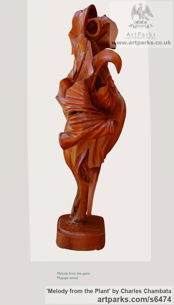 Mupapa wood Foliage Leaves Carvings sculpture sculpture by sculptor Charles Chambata titled: 'Melody from the Plant (abstract Wood statuettes)' - Artwork View 5
