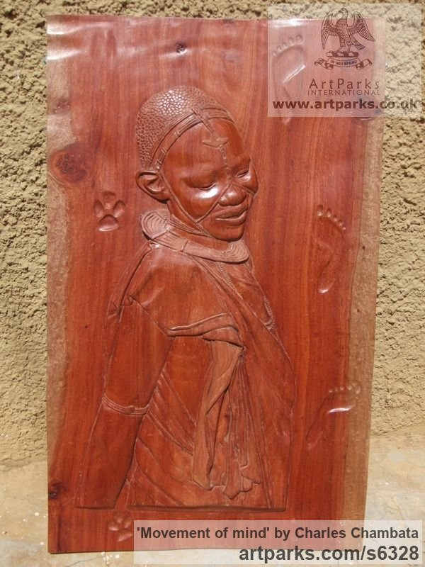 Rose wood Wall Mounted or Wall Hanging sculpture by sculptor Charles Chambata titled: 'Movement of mind (Carved Bas Relief female Plaque)'