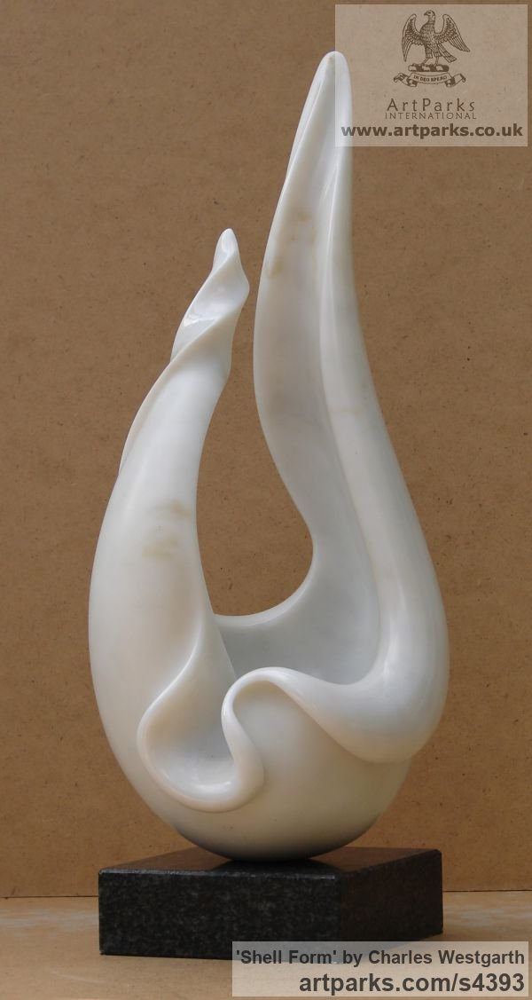 Marble Carved Abstract Contemporary Modern sculpture carving sculpture by sculptor Charles Westgarth titled: 'Shell Form (abstract marble Natural sculpture or statuary or statue)'
