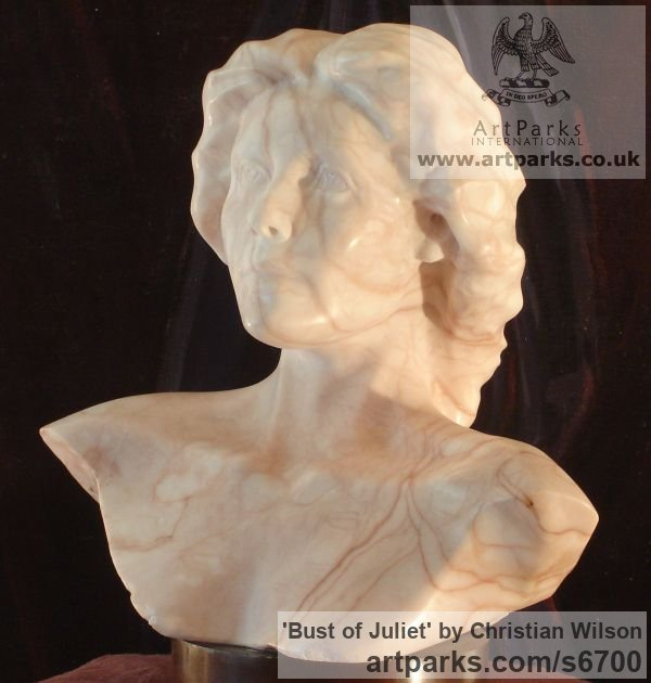 Solid Alabaster (striated pink) Females Women Girls Ladies sculpture statuettes figurines sculpture by sculptor Christian Wilson titled: 'Bust of Juliet (life size Alabaster Commissioned Portrait Head statues)'