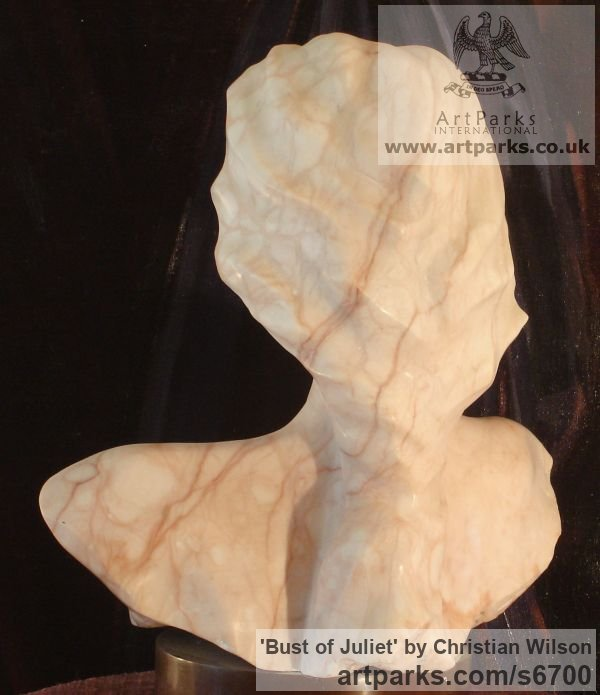 Solid Alabaster (striated pink) Females Women Girls Ladies sculpture statuettes figurines sculpture by sculptor Christian Wilson titled: 'Bust of Juliet (life size Alabaster Commissioned Portrait Head statues)' - Artwork View 2