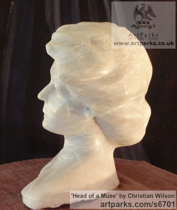 Solid alabaster Tabletop Desktop Small Indoor Statuettes Figurines sculpture by sculptor Christian Wilson titled: 'Head of a Muse (Carved Portrait stone Head statue)'