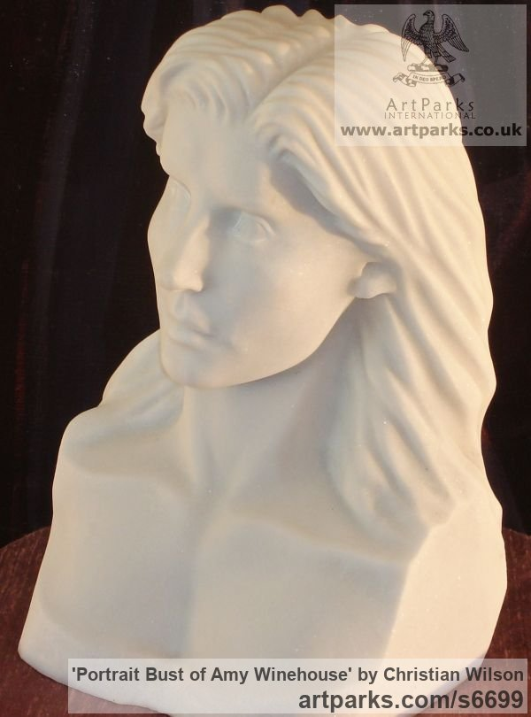 Solid Italian Carrara Marble Portrait Sculptures / Commission or Bespoke or Customised sculpture by sculptor Christian Wilson titled: 'Portrait Bust of Amy Winehouse (Carved marble Portrait Bust/Head statue)'