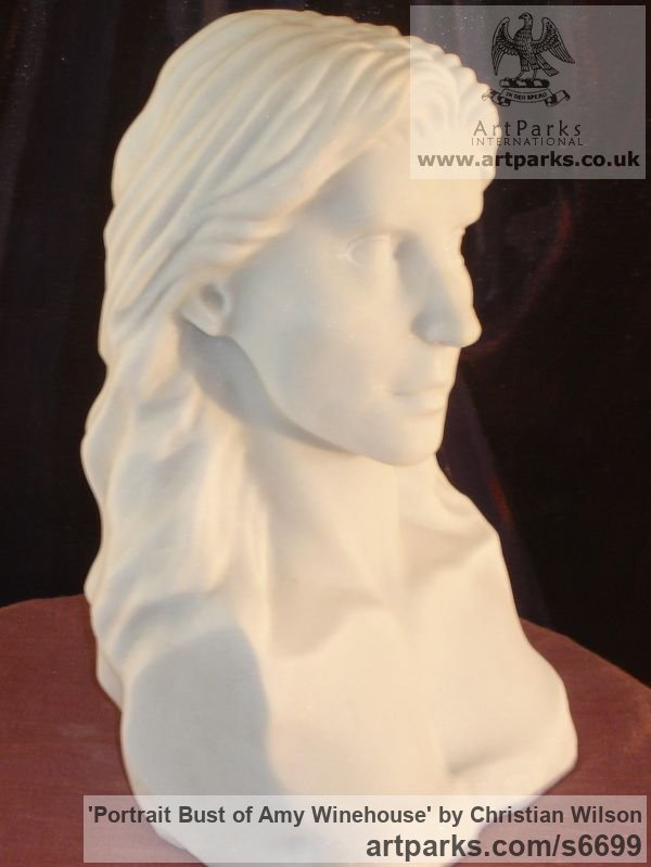 Solid Italian Carrara Marble Portrait Sculptures / Commission or Bespoke or Customised sculpture by sculptor Christian Wilson titled: 'Portrait Bust of Amy Winehouse (Carved marble Portrait Bust/Head statue)' - Artwork View 4