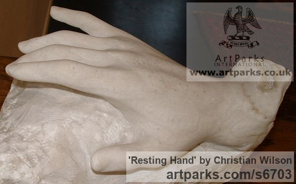 Solid alabaster Females Women Girls Ladies sculpture statuettes figurines sculpture by sculptor Christian Wilson titled: 'Resting Hand (Carved Alabaster stone Hand sculpture)'