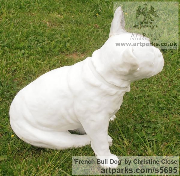 Marble / granite resin Dogs sculpture by sculptor Christine Close titled: 'French Bulldog (stone resin life size Dog statuette sculpture)' - Artwork View 3