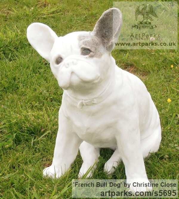 Marble / granite resin Dogs sculpture by sculptor Christine Close titled: 'French Bulldog (stone resin life size Dog statuette sculpture)' - Artwork View 4