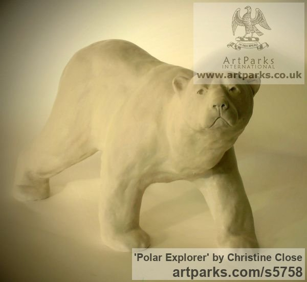 Marble resin Predators Carnivores Hunters Flesh Eaters sculpture statuettes carvings sculpture by sculptor Christine Close titled: 'Polar Explorer (Small White Polar Bear statuette)'