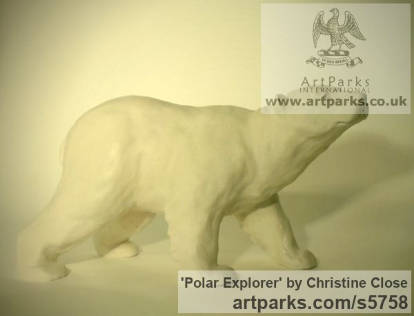 Marble resin Predators Carnivores Hunters Flesh Eaters sculpture statuettes carvings sculpture by sculptor Christine Close titled: 'Polar Explorer (Small White Polar Bear statuette)' - Artwork View 2
