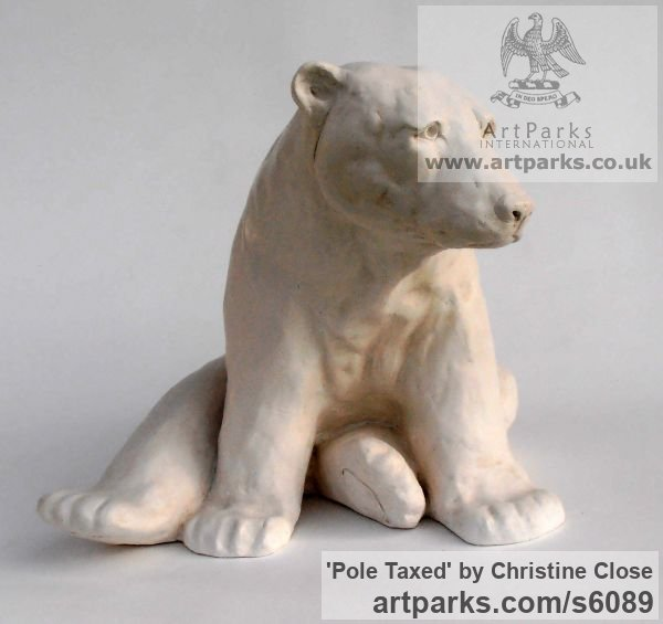 Marble resin Marine Maritime Water Sea sculpture statuette sculpture by sculptor Christine Close titled: 'Pole Taxed (Cast marble Waking Polar Bear statue)'