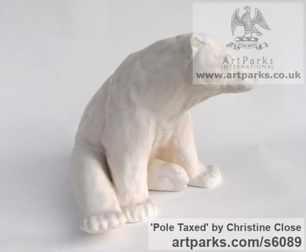 Marble resin Marine Maritime Water Sea sculpture statuette sculpture by sculptor Christine Close titled: 'Pole Taxed (Cast marble Waking Polar Bear statue)' - Artwork View 2