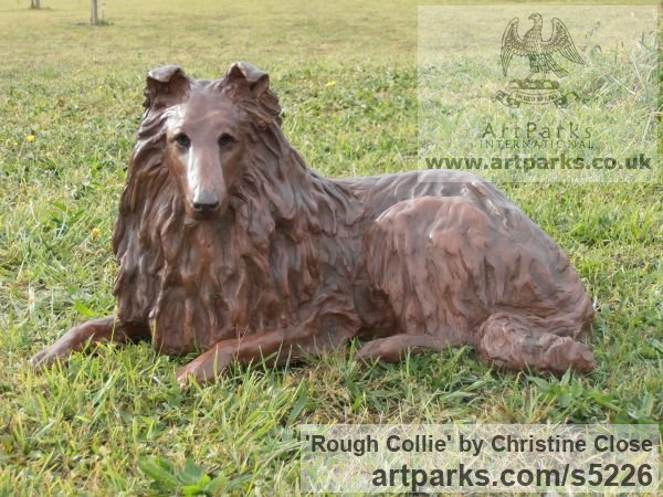 Copper resin Dogs sculpture by sculptor Christine Close titled: 'Rough Collie (Sitting Alert Sheep Dog art statue)'