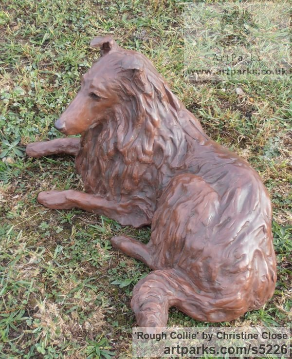 Copper resin Dogs sculpture by sculptor Christine Close titled: 'Rough Collie (Sitting Alert Sheep Dog art statue)' - Artwork View 2