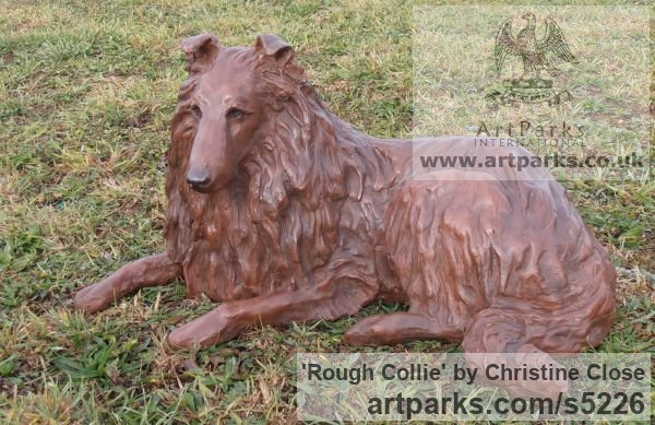 Copper resin Dogs sculpture by sculptor Christine Close titled: 'Rough Collie (Sitting Alert Sheep Dog art statue)' - Artwork View 5