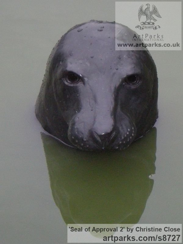 Slate resin Wild Animals and Wild Life sculpture by sculptor Christine Close titled: 'SEAL of APPROVAL 2'