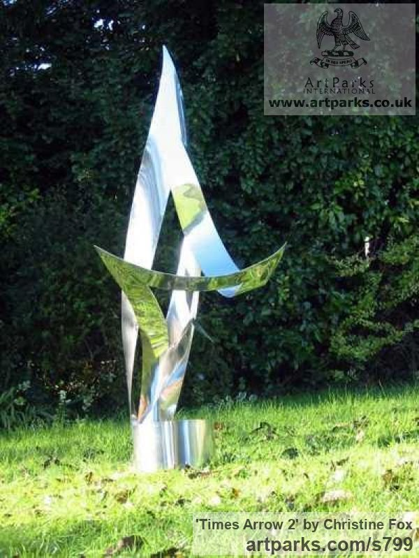 Stainless steel Abstract Contemporary Modern Outdoor Outside Garden / Yard sculpture statuary sculpture by sculptor Christine Fox titled: 'Times Arrow 2 (stainless Steel abstract garden/Yard sculpture/statues)'