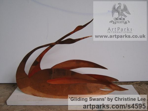 Copper Garden Or Yard / Outside and Outdoor sculpture by sculptor Christine Lee titled: 'Gliding Swans (Graceful Modern Sheet Polished Copper sculpture)'