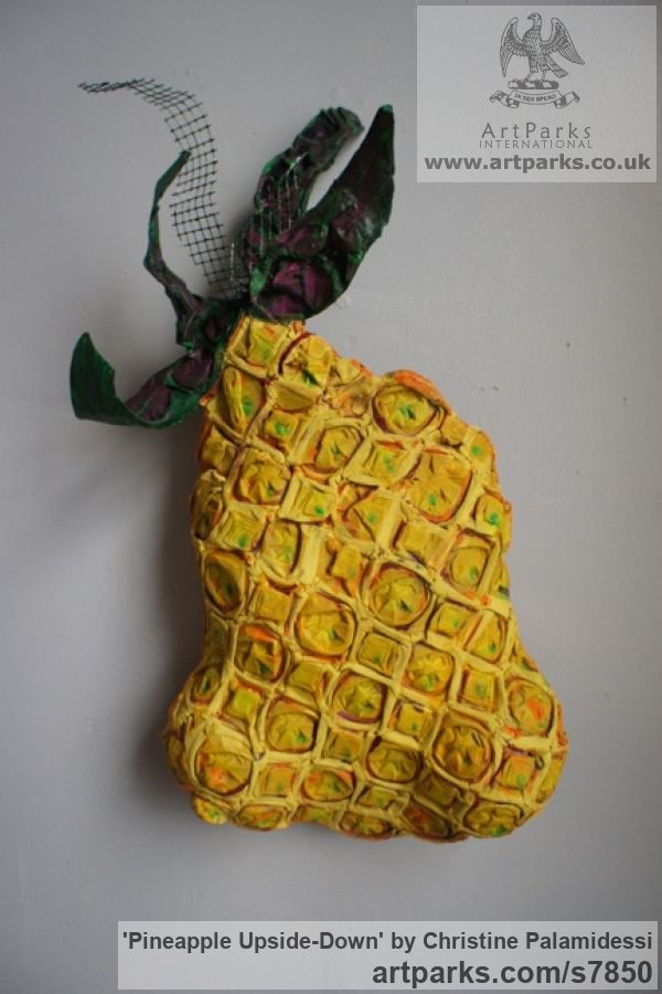 Mixed-paer, paint, wire Wall Mounted or Wall Hanging sculpture by sculptor Christine Palamidessi titled: 'Pineapple Upside-Down (Wall Hung Coloured Fruit abstract statue Hangin)'