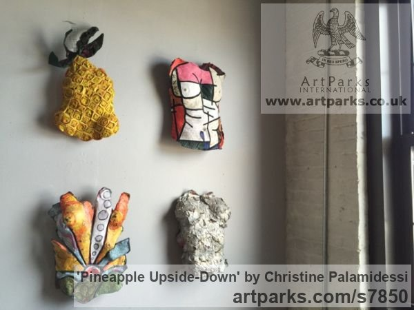 Mixed-paer, paint, wire Wall Mounted or Wall Hanging sculpture by sculptor Christine Palamidessi titled: 'Pineapple Upside-Down (Wall Hung Coloured Fruit abstract statue Hangin)' - Artwork View 3