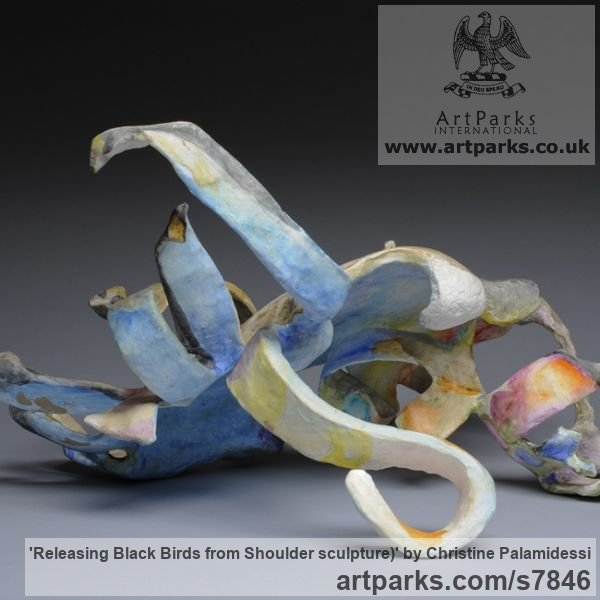 Mixed- paper, oil, acrylic, wire Wall Mounted or Wall Hanging sculpture by sculptor Christine Palamidessi titled: 'Releasing Black Birds from Shoulder (statue)' - Artwork View 2