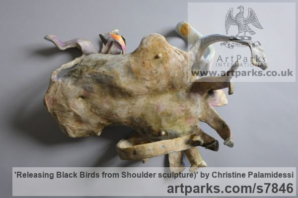 Mixed- paper, oil, acrylic, wire Wall Mounted or Wall Hanging sculpture by sculptor Christine Palamidessi titled: 'Releasing Black Birds from Shoulder (statue)' - Artwork View 4