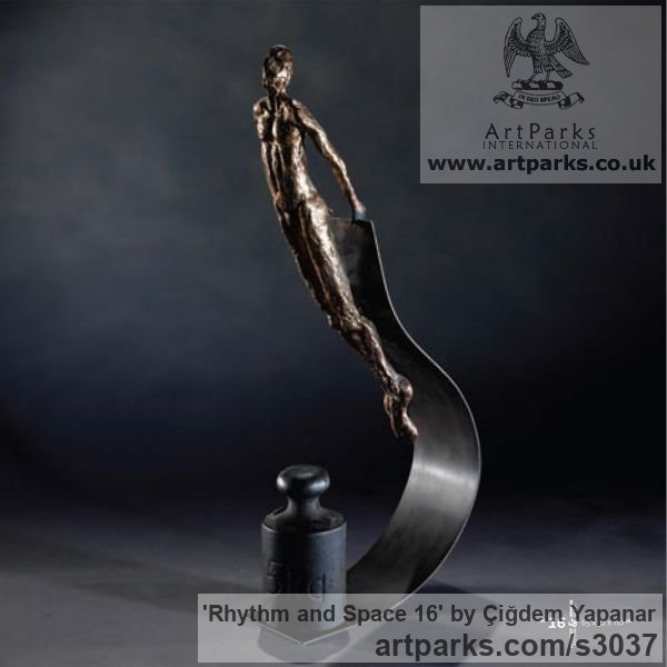 Bronze, brass sheet, weight Male Men Youths Masculine sculpturettes figurines sculpture by sculptor Çiğdem Yapanar titled: 'Rhythm and Space 16 (Small Bronze abstract nude Gymnast statue/sculpture)'
