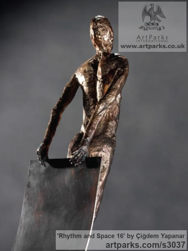 Bronze, brass sheet, weight Male Men Youths Masculine sculpturettes figurines sculpture by sculptor Çiğdem Yapanar titled: 'Rhythm and Space 16 (Small Bronze abstract nude Gymnast statue/sculpture)' - Artwork View 2