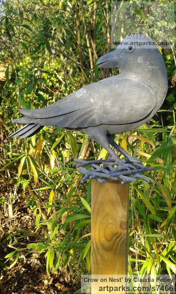 Mild steel Garden Or Yard / Outside and Outdoor sculpture by sculptor Claudia Petley titled: 'Crow on Nest (Mild Steel life size garden sculpture)'