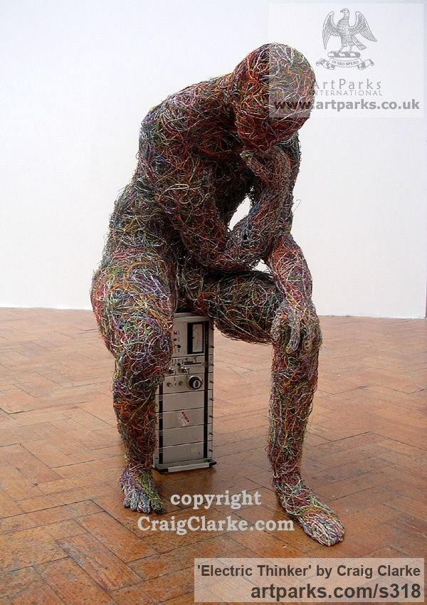 Internet and computer wire Male Men Youths Masculine sculpturettes figurines sculpture by sculptor Craig Clarke titled: 'Electric Thinker : Life-Sized, British Contemporary sculpture'
