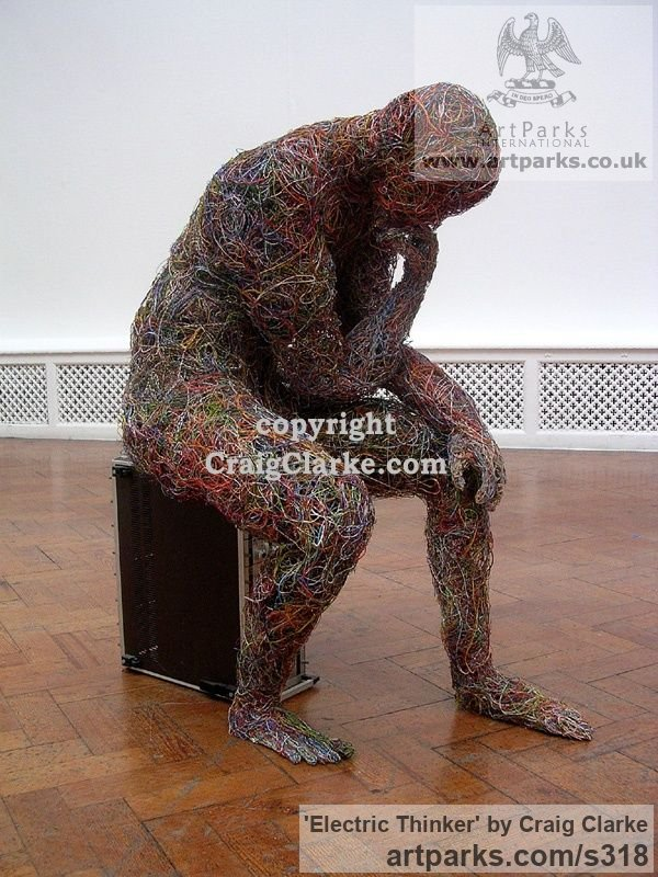 Internet and computer wire Male Men Youths Masculine sculpturettes figurines sculpture by sculptor Craig Clarke titled: 'Electric Thinker : Life-Sized, British Contemporary sculpture' - Artwork View 2