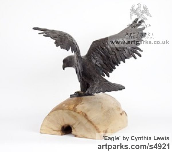 Bronze on Wood base Varietal Mix of Bird Sculptures or sculpture by sculptor Cynthia Lewis titled: 'Eagle (Landing bronze small Raptors or Birds of Prey statuettes)' - Artwork View 2