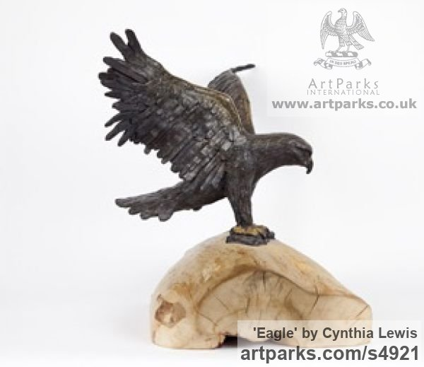 Bronze on Wood base Varietal Mix of Bird Sculptures or sculpture by sculptor Cynthia Lewis titled: 'Eagle (Landing bronze small Raptors or Birds of Prey statuettes)' - Artwork View 4