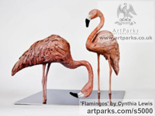 Bronze on polished Steel base Varietal Mix of Bird Sculptures or sculpture by sculptor Cynthia Lewis titled: 'Flamingos (Pink Bronze Feeding Standing Lifelike sculptures/statuette)' - Artwork View 1