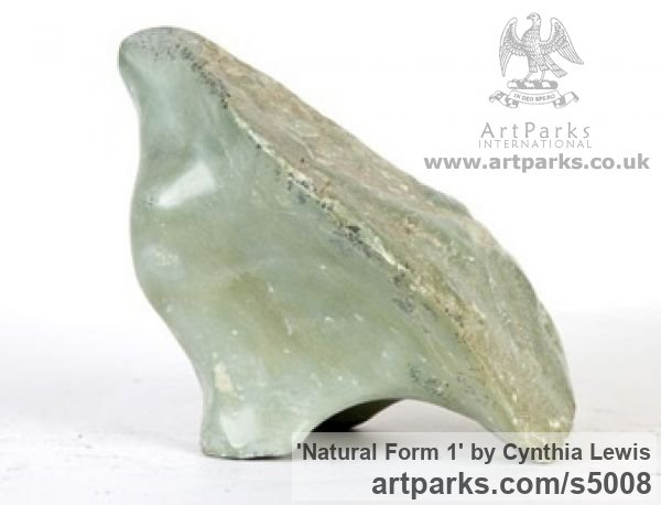 Green Soapstone Tabletop Desktop Small Indoor Statuettes Figurines sculpture by sculptor Cynthia Lewis titled: 'Natural Form 1 (Carved Soap stone Indoors free form Contemporary statue)' - Artwork View 3