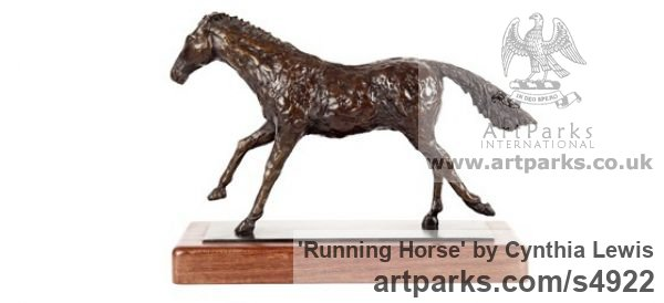 Bronze on Wood base Horse Sculpture / Equines Race Horses Pack HorseCart Horses Plough Horsess sculpture by sculptor Cynthia Lewis titled: 'Running Horse (bronze small Cantering Desk Top Ornament/statuettes)'
