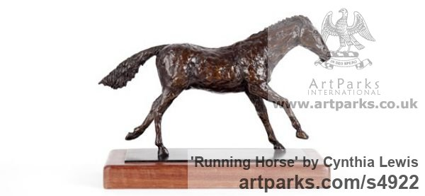 Bronze on Wood base Horse Sculpture / Equines Race Horses Pack HorseCart Horses Plough Horsess sculpture by sculptor Cynthia Lewis titled: 'Running Horse (bronze small Cantering Desk Top Ornament/statuettes)' - Artwork View 2