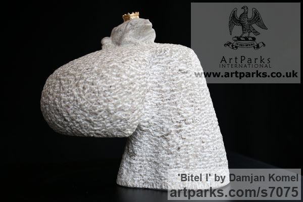 Cast stone, gold leafe Water Features, Fountains and Cascades sculpture by sculptor Damjan Komel titled: 'Bitel I (I wish) recive kiss of future stone Frog statue' - Artwork View 2